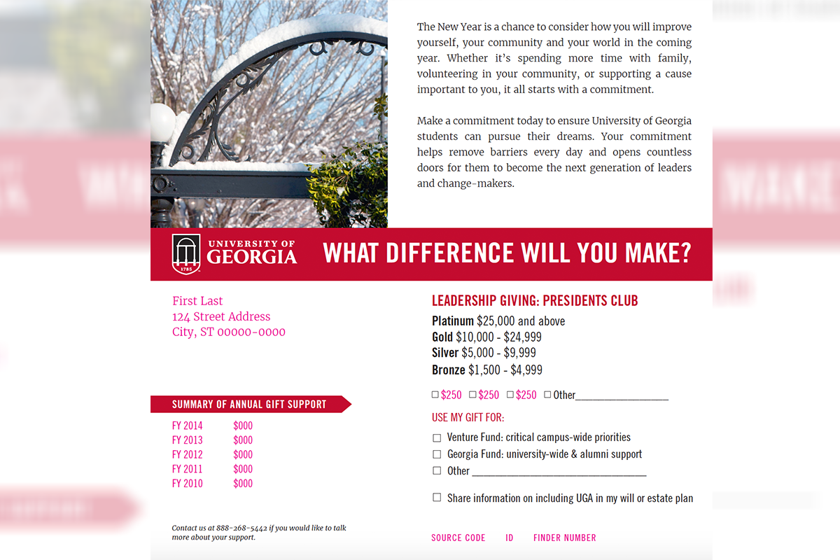 UGA Annual Giving Calendar Year End Mailer