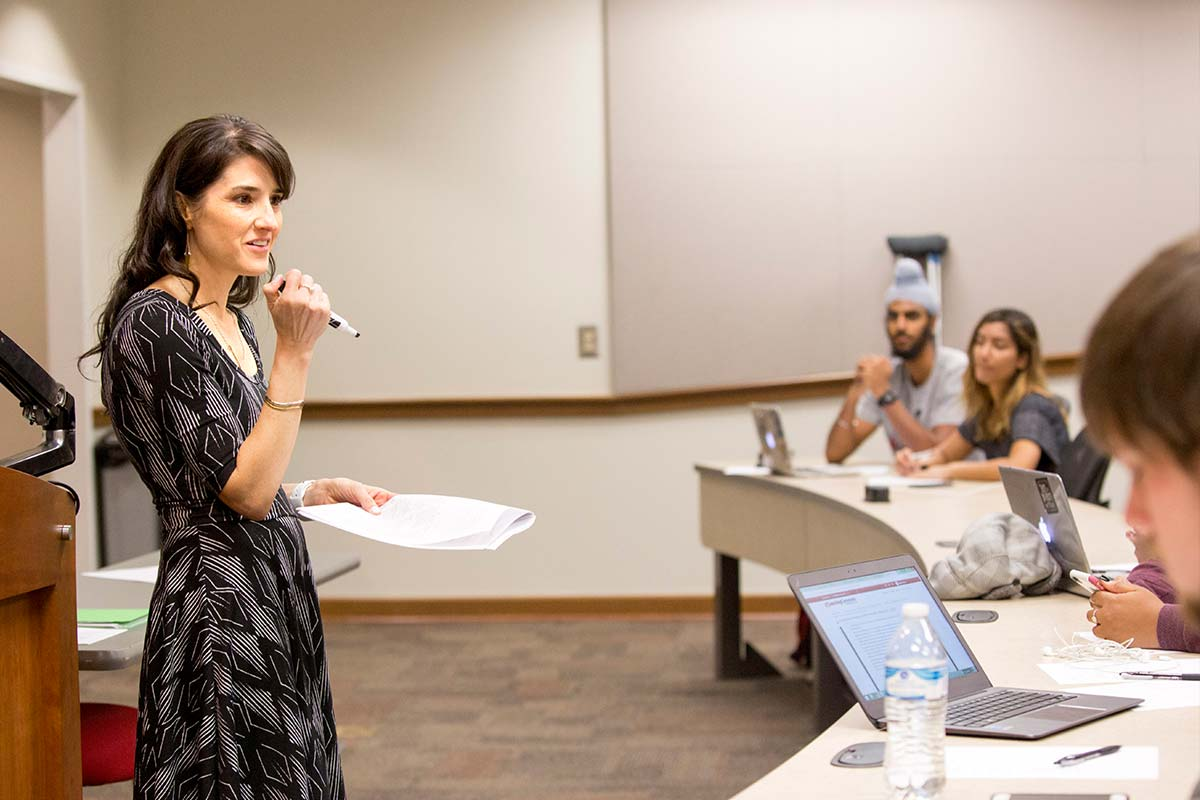 Public Administration and Policy Professor Amanda Abraham teaches a class.