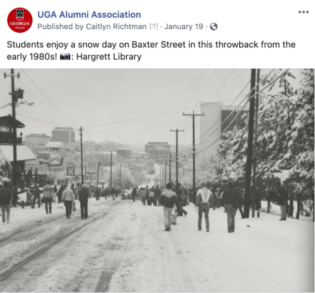 FB Post of students enjoying a snow day on Baxter Street in the 1980s