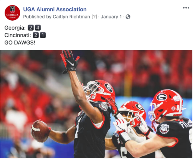 FB post of UGA vs. Cincinnati in Peach Bowl