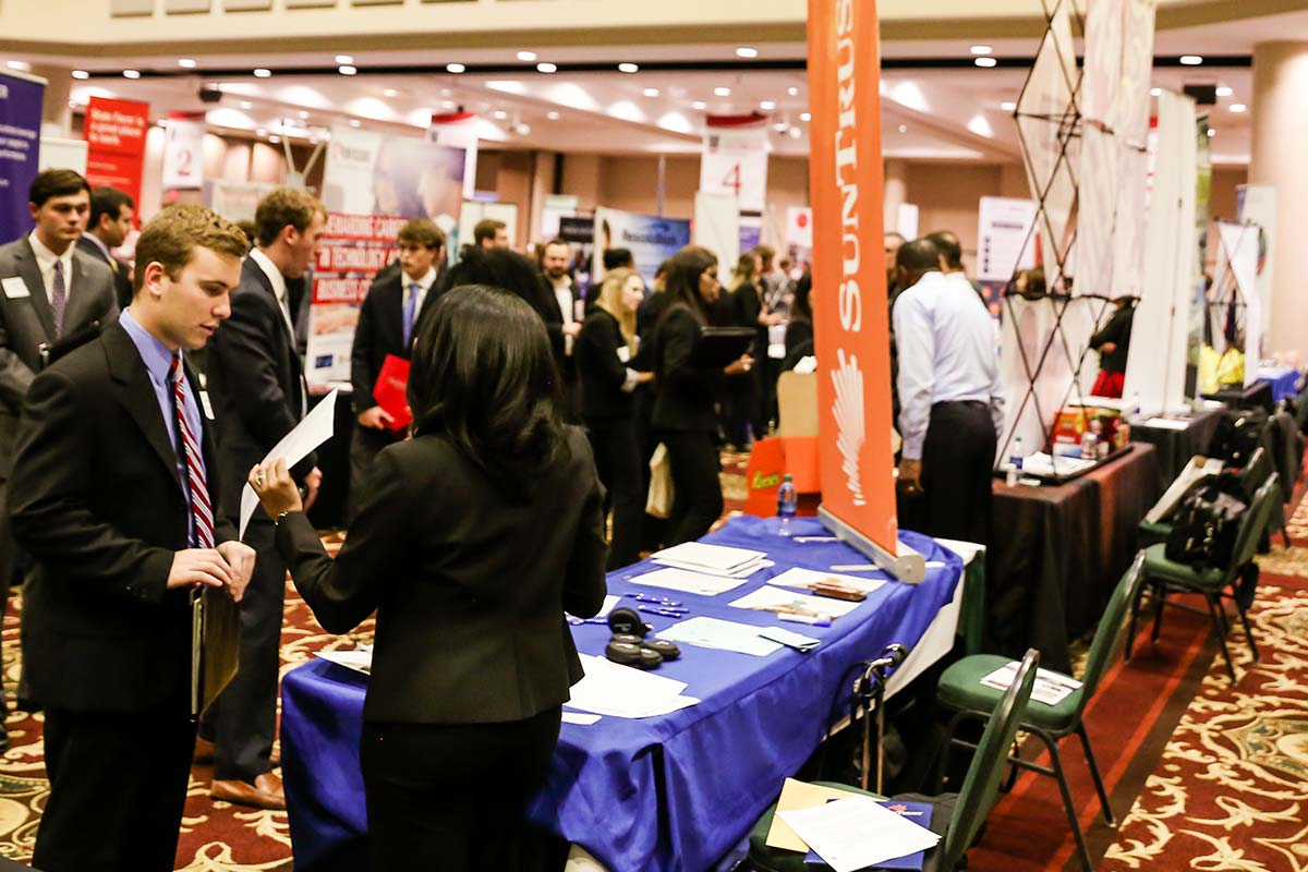 Students interact with employers at the UGA Career Fair.